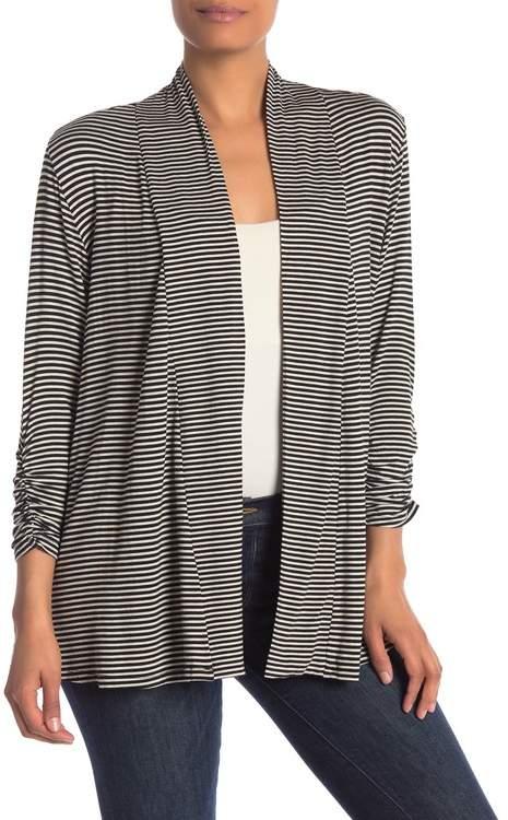 Bobeau Striped Open 3\u002F4 Length Sleeve Cardigan