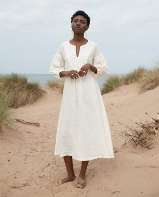 Beaumont Organic Ivory Andreia May Linen Dress - Ivory / Large - White