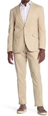Savile Row Co Tan Slim Fit Chambray Peak Lapel Suit