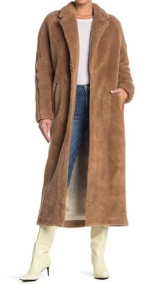 Billy Reid Raglan Wrap Faux Fur Coat