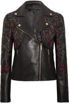 Elie Saab Embroidered Leather Biker Jacket - Black