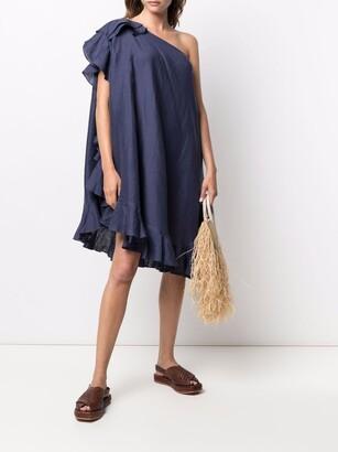 Kalita One-Shoulder Linen Dress