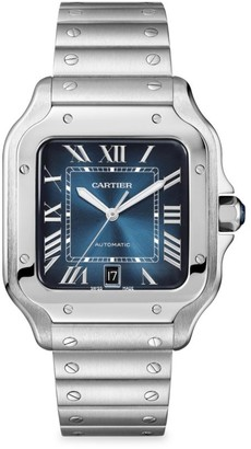 Cartier Santos de Large Stainless Steel Two-Strap Watch with Blue Dial