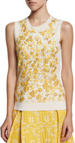Oscar de la Renta Sleeveless Floral-Embroidered Shell, Ivory/Marigold