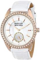 Badgley Mischka Women's BA/1316WMRG Swarovski Crystal-Accented Rose Gold-Tone White Leather Strap Watch