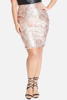 Fashion to Figure Aura Rose Gold Sequin Pattern Skirt