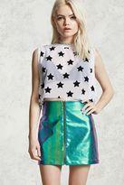 Forever 21 FOREVER 21+ Metallic Zipper Pull Skirt