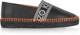 Kenzo Black Grainy Leather Espadrilles w/Neon Orange Stitching