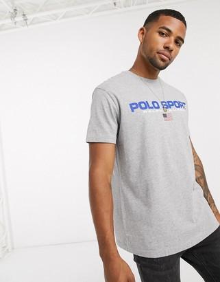 Polo Ralph Lauren flag sport logo t-shirt custom regular fit in gray marl
