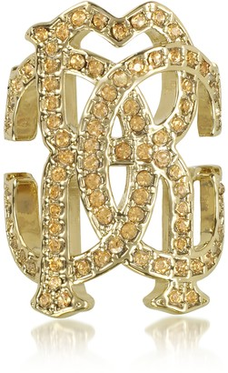 Roberto Cavalli RC Icon Light Gold Ring w/Crystals