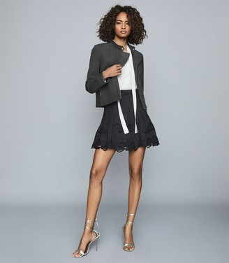 Reiss Blath - Embroidered Mini Skirt in Black