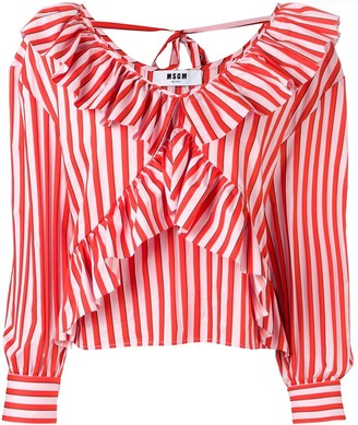 MSGM striped ruffle blouse