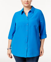 Charter Club Plus Size Roll-Tab Blouse, Only at Macy's