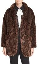 The Kooples Women's Leopard Print Faux Fur Coat