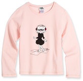 Karl Lagerfeld Dancing Choupette Long-Sleeve Jersey Tee, Washed Pink, Size 2-5