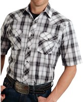Roper Classic Metallic Plaid Western Shirt - Snap Front, Short Sleeve (For Men)