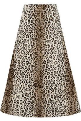 Emilia Wickstead Ionie Leopard-print Cotton-blend Faux Fur Midi Skirt