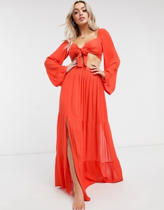 ASOS DESIGN tiered maxi beach skirt co-ord in red