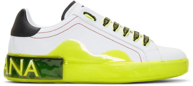 Dolce & Gabbana White and Yellow Portofino Melt Sneakers