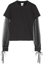 Noir Kei Ninomiya Tulle-paneled Cotton-jersey Top