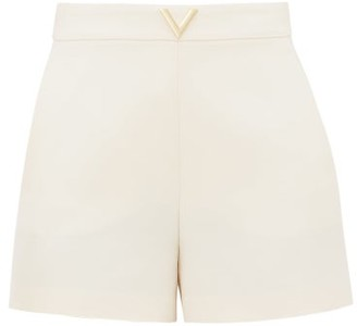 Valentino Crepe Couture V-logo Wool-blend Shorts - Ivory