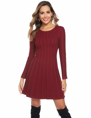 Abollria Womens Crew Neck Long Sleeve Bodycon Cable Twist Knitted Jumper Knitwear Sweater Dress