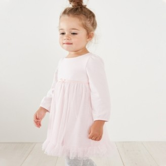 The White Company Jersey Long Sleeve Tutu Dress, Pink, 12-18mths