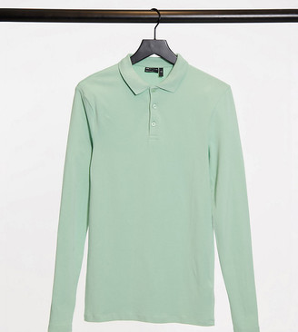 ASOS DESIGN Tall organic muscle fit long sleeve polo in green