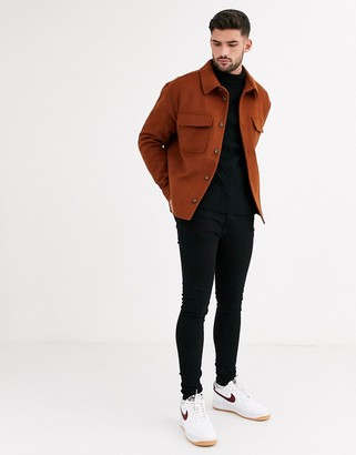 Asos DESIGN wool mix jacket in tobacco