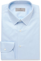 Canali - Blue Slim-fit Herringbone Cotton Shirt