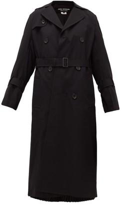 Junya Watanabe Pleated Wool-blend Gabardine Trench Coat - Womens - Black