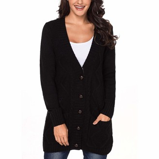 Syrads Women Cable Knit Sweater V-Neck Long Cardigan Open Front Button Down Warm Coat with Side Pockets Black