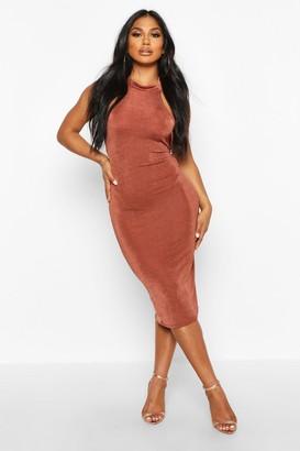 boohoo Textured Slinky High Neck Midi Dress