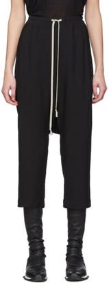 Rick Owens Black Crepe Cropped Lounge Pants