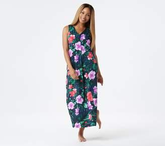 Stan Herman Hibiscus Silky Jersey Sleeveless Lounge Dress