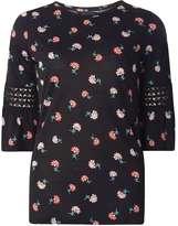 Dorothy Perkins Black Floral Flutter Sleeve Top