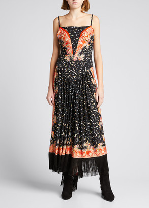 Paco Rabanne Patterned Fringe-Hem Dress