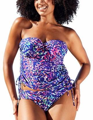 Figleaves Womens Underwired Bandeau Tankini Top Size 38DD in Multi Leopard