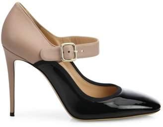 Valentino Garavani Plain Two-Tone Leather Mary Jane Pumps