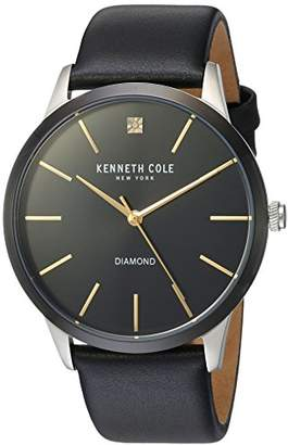 Kenneth Cole New York Men's Diamond Stainless Steel Quartz Watch with Leather Strap
