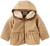 Starting Out Baby Girl 12-24M Quilted Faux Fur Hooded Jacket