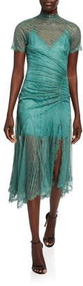 Jonathan Simkhai Sateen Lingerie Lace Short-Sleeve Front-Slit Dress