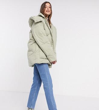 Asos Tall ASOS DESIGN Tall oversized puffer jacket in sage