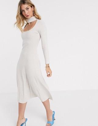 ASOS DESIGN high neck rib midi dress with peekaboo in oatmeal