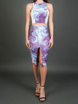 Donna Mizani Swirl Front Slit Midi Skirt