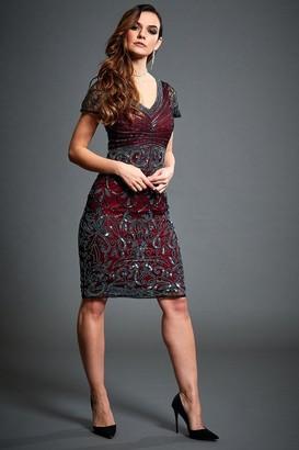 Jywal London Silvia Wine Red Embellished Midi Flapper Dress