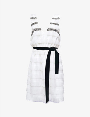 Pinko Stefano jewel-embroidered jacquard dress with fringe