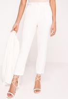 Missguided Button Detail Cigarette Pants White
