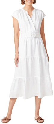 French Connection Belted Linen Midi Dress