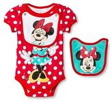 Disney Minnie Mouse Newborn Bodysuit & 2 Bibs - Red